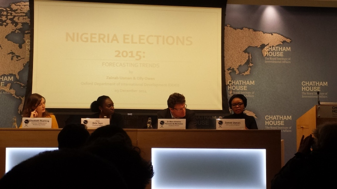 Presentation on Nigerian Elections and the Boko Haram Security Challenge(s) at Chatham House in London. 09 December 2014 [Source: Personal Photo Collection]