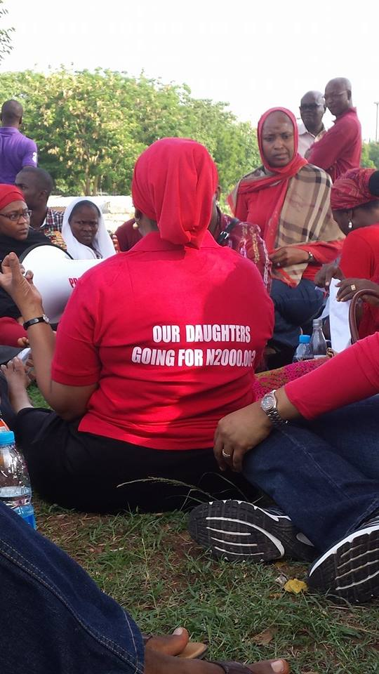 Prominent women's rights activist, Mrs. Maryam Uwais's thought-provoking T-shirt. 1st May 2014
