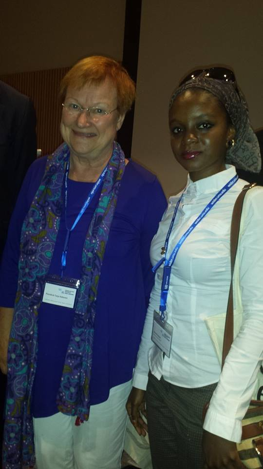 With Her Excellency, former President Tarja Halonen of Finland after our brief discussion on gender equality, at the UNU-WIDER Conference on Inequality. Helsinki, Finland, 6 September 2014
