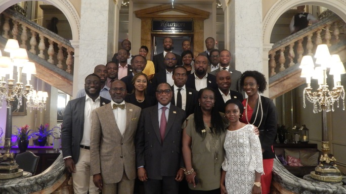 Alumni Dinner for the Nigeria Leadership Initiative (NLI) with Mr Olusegun Aganga, founder NLI and former Minister of Industry, Trade and Investment, Dr Yinka Oyinlola, NLI CEO, Dr Titi Banjoko, NLI Senior Fellow and others. London, 31 July 2015