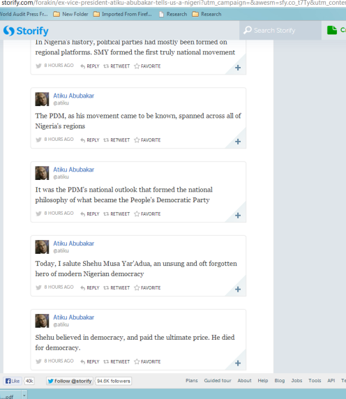 Screen Shot of a Storify Page with some tweets from former Vice-President Atiku Abubakar
